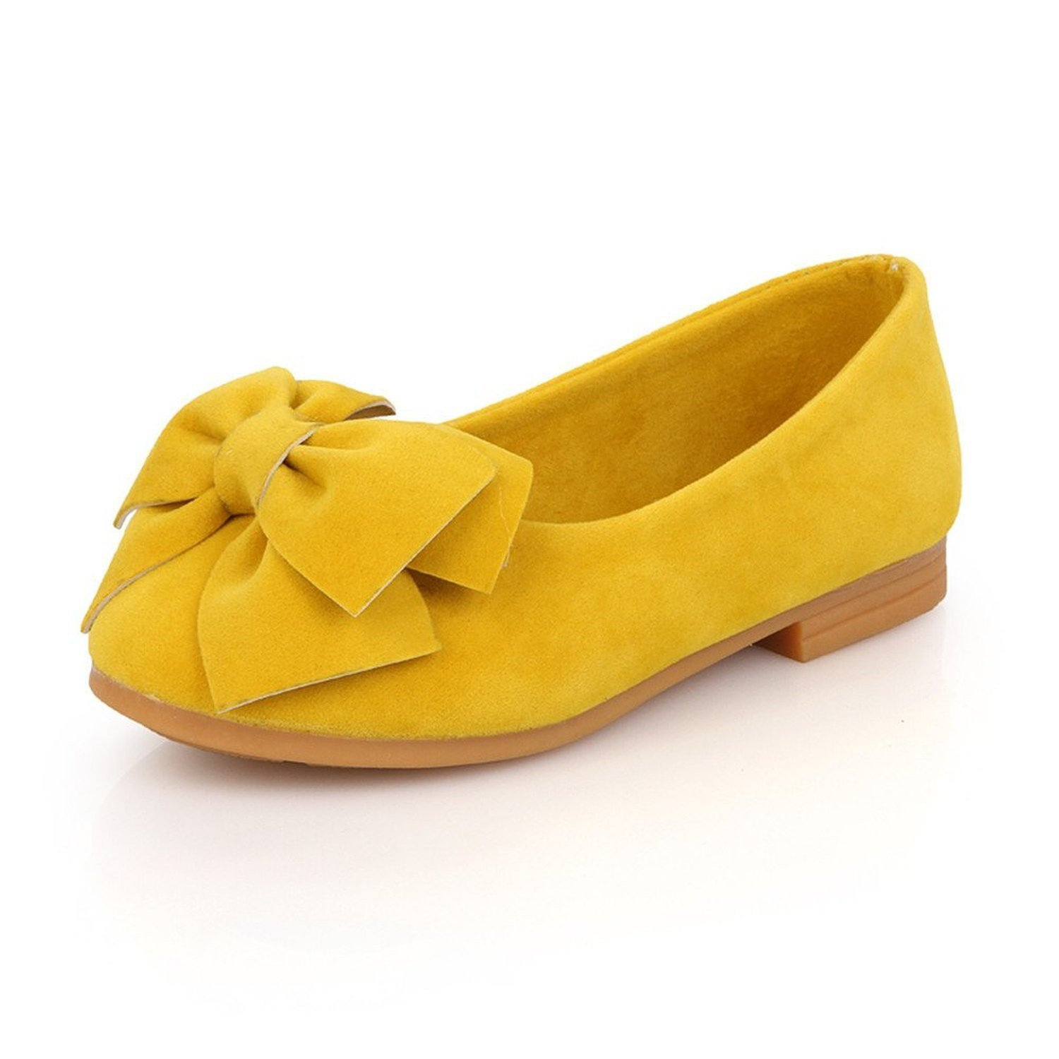 Bumud Girl's Adorable Bow Slip On Ballerina Flat Dress Shoe(Toddler/ Little Kids) (12 M US Little Kid, Yellow)
