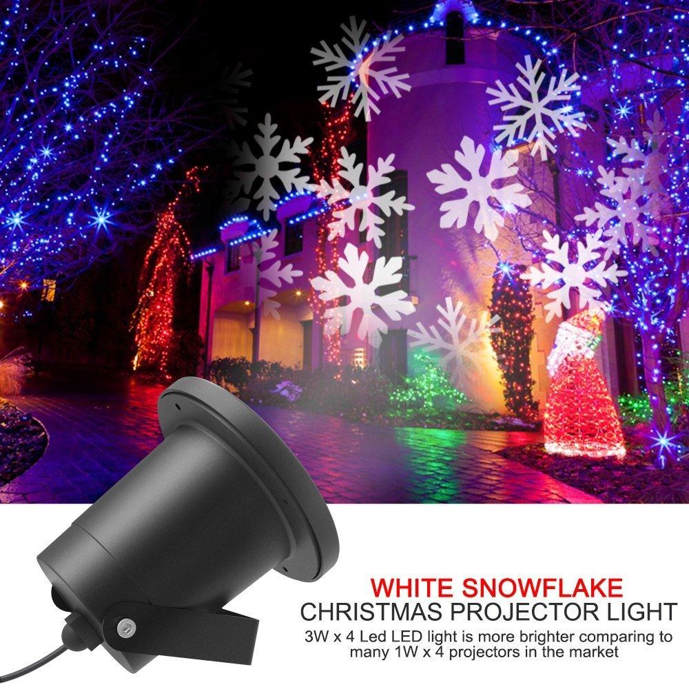 ALAFAT Projecteur LED Mouvement Flocon de Neige Lumineux, Lumiere  Decoration de Projecteur Pere Noel Exterieur, Lampe Sur Pied de Salon  Halloween (White ... 800beaad6035