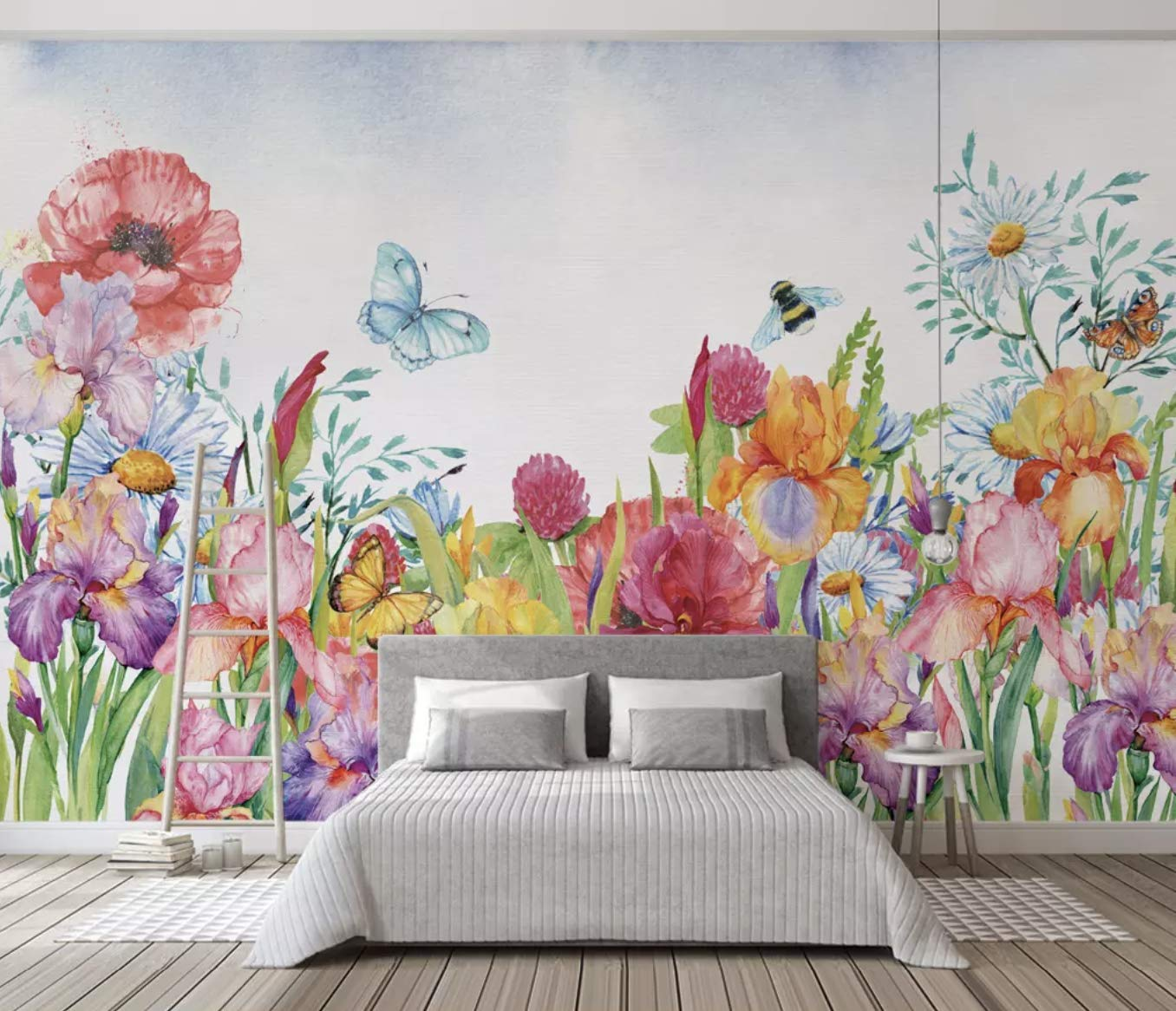Amazon Com Murwall Floral Wallpaper Watercolor Flower Wall Mural