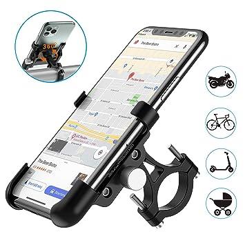 WACCET Soporte Movil Bicicleta Montaña 360 Rotación Soporte Telefono Moto Universal Aleación de Aluminio Soporte Bici Movil para iPhone X XS MAX ...