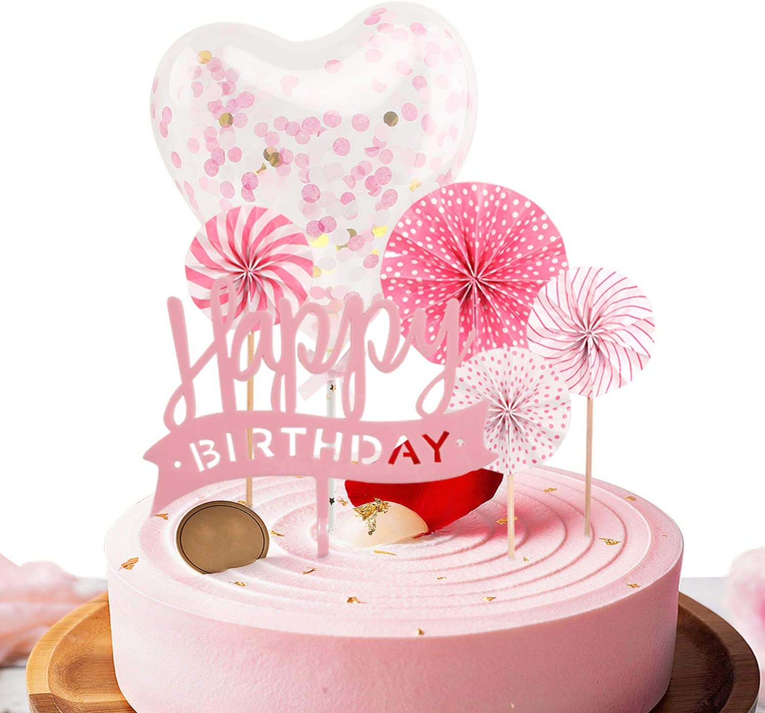 Happy Birthday Pink Cake Topper, Lowki Pink Cupcake Topper with Pink Paper Fans, Confetti Balloon, Birthday Cake Supplies Decorations(6 pieces)