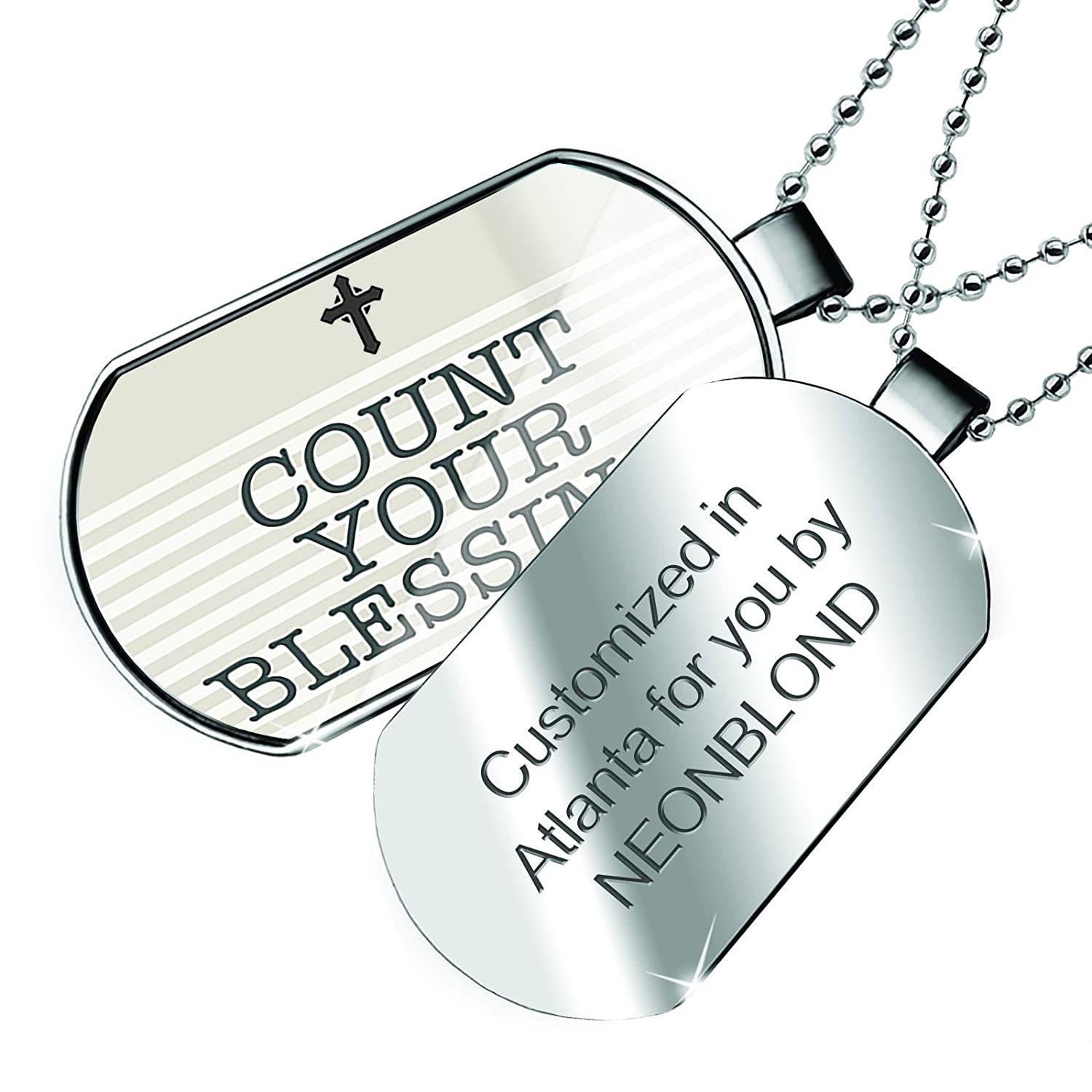 NEONBLOND Personalized Name Engraved Count Your Blessings Religious Easter Cross Neutral Dogtag Necklace