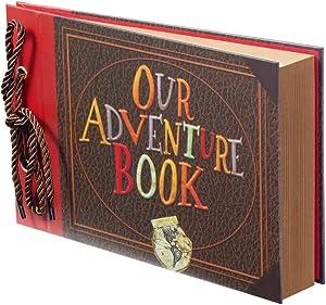 Scrapbook Photo Album,Our Adventure Book Scrapbook, Photo Book,Embossed Words Hard Cover Movie Up Travel Scrapbook for Anniversary, Wedding, Travelling, Baby Shower, etc (Adventure Book)