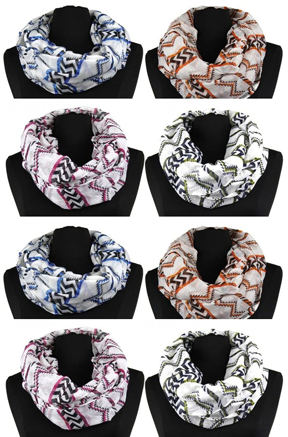 Lightweight infinity scarf - with lively zigzag - 8 Pack
