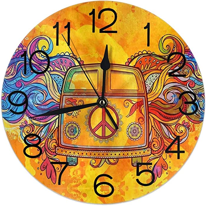 Home Decor Hippie Mini Van with Peace Round Wall Clock Acrylic Silent Non Ticking Decorative Clocks for Living Room Kitchen