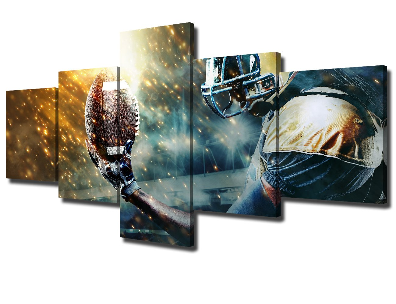Teal Wall Art 5 Piece Canvas Pictures for Living Room Contemporary Decor American Football Sportsman Artwork Painting Modern Home Decoration Framed Gallery-wrapped Stretched Ready to Hang(50''Wx24''H)