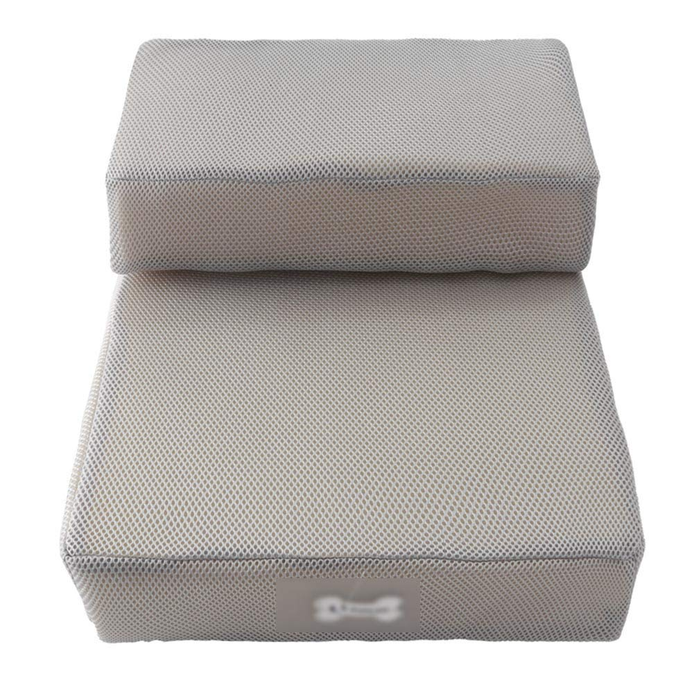 Light grey Pet stairs Breathable Mesh Foldable Dog Stairs Step Sponge Mats Climbing Ladder Removable Washable Carpet Treads (color   Light grey)