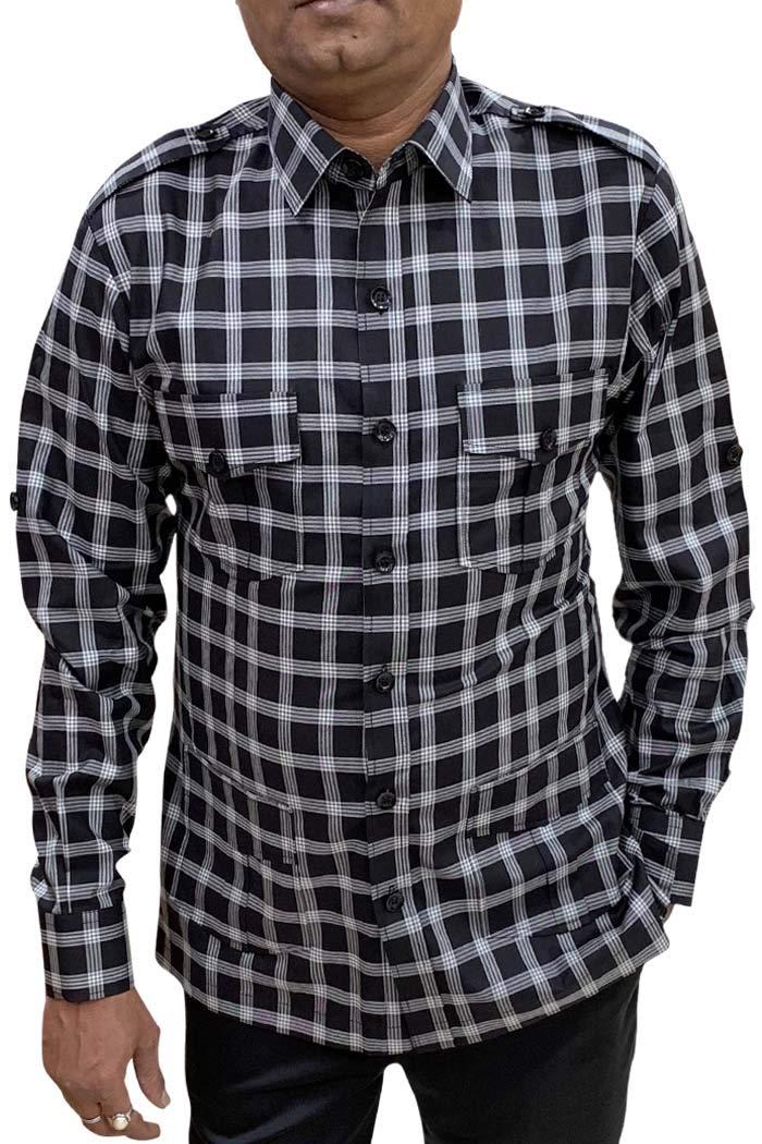 INMONARCH Boy ScoutUniform Black Checks Safari Shirt Mens Hunting Shirts Full Sleeves HS120LARGE L (Large) Black by INMONARCH