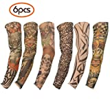 Mobengo 6 Pcs Fashion Nylon Fake Temporary Tattoo Sleeves Arm Stockings Tatoo Soft For Men Women