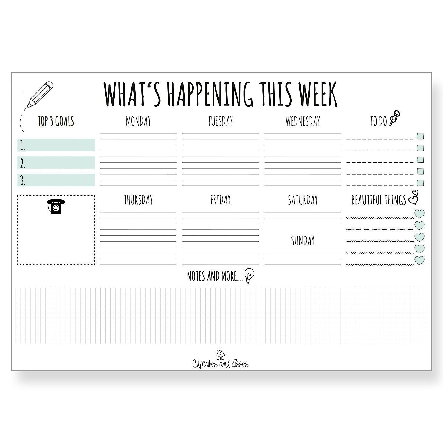 Cupcakes & Kisses Desk Pad Calendar for Writing I Paper I Tear-Off Sheets I for Dates & Notes I Daily Planner & Weekly Overview I to-Do List I 2018