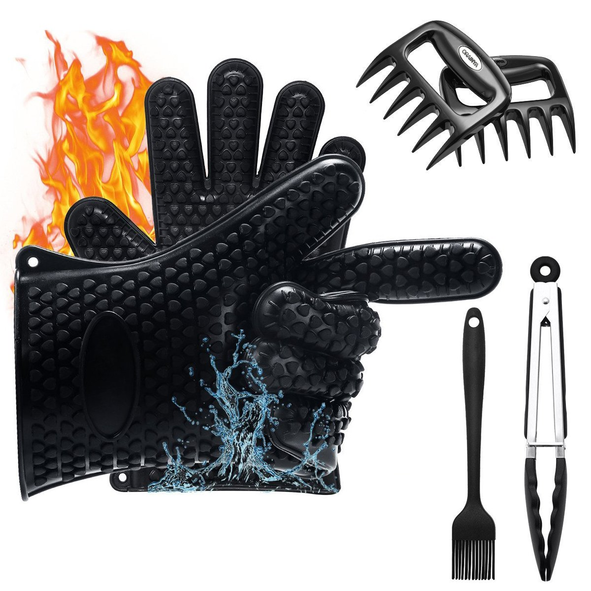 Orainya Silicone BBQ Gloves BBQ Grill Tool Set Meat Claws BBQ Meat Gloves Kitchen Tong BBQ Grill Brush Indoor Outdoor Grilling