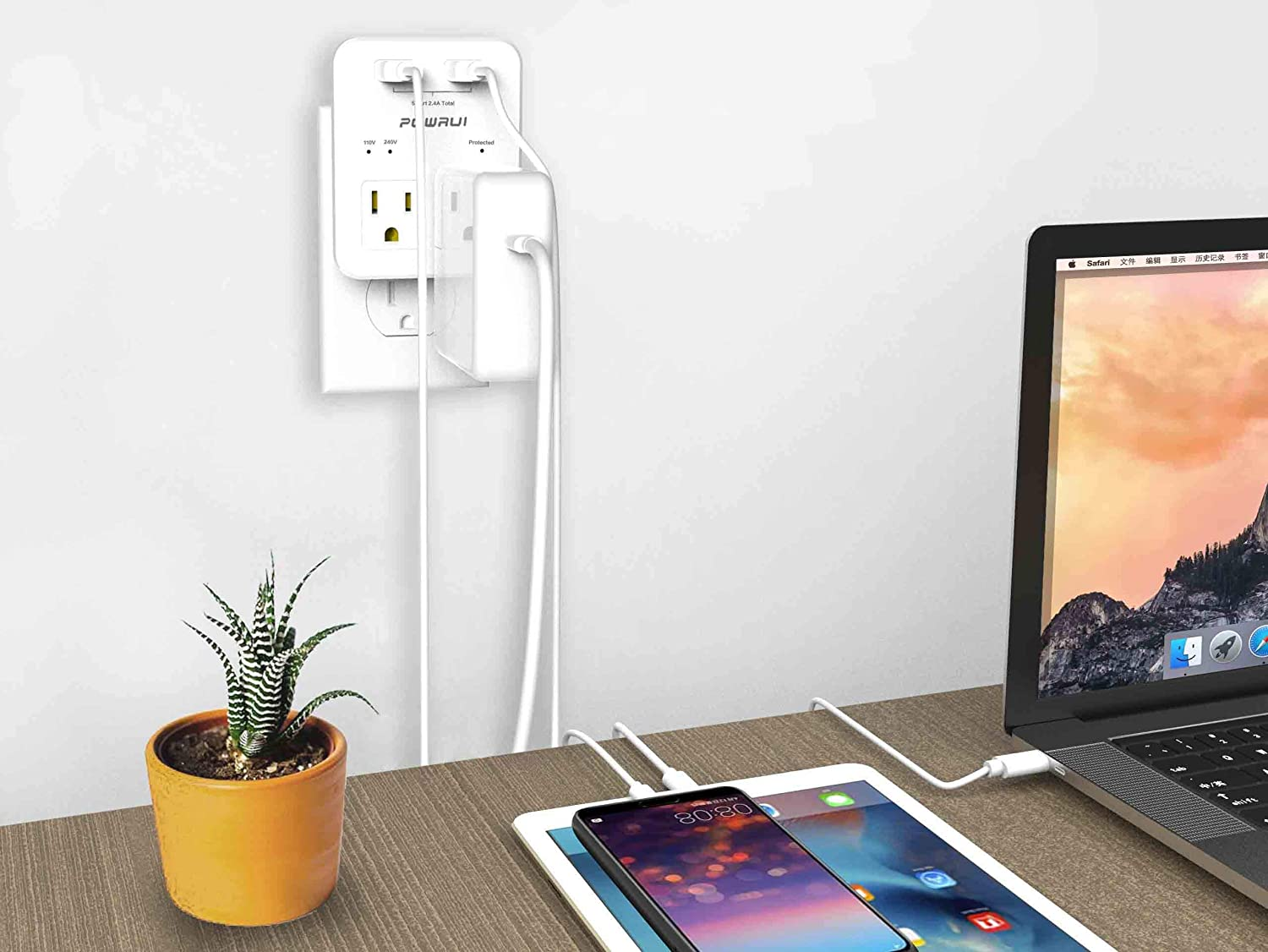 International Power Adapter, POWRUI Surge Protector Travel Adapter with 2 USB Ports & 2 US Outlets, Plug for Europe, UK, China, Australia, Japan, Fit for Laptop, Cell Phones (Not Voltage Converter) - -