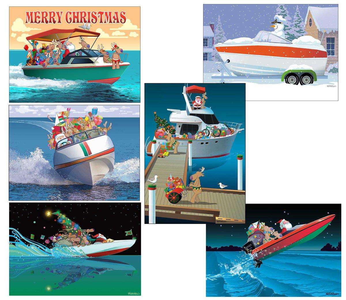 Amazon.com: Santa\'s Speedboat Christmas Card - Boating 18 Cards ...
