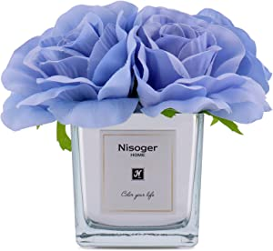 Nisoger Artificial Flowers with Vase for Home Decor, Flowers Artificial Rose Silk for Home Office Party Meeting Room Decoration (Blue)