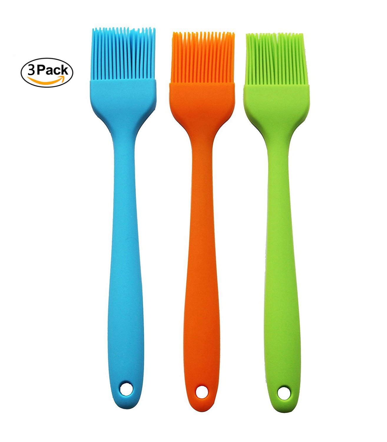 Winlux Set of 3 Silicone Basting & Pastry Brush Oil Brushes For Cake Bread Butter Baking Tools Safety Heat Resistant Barbecue Basting Brush Set