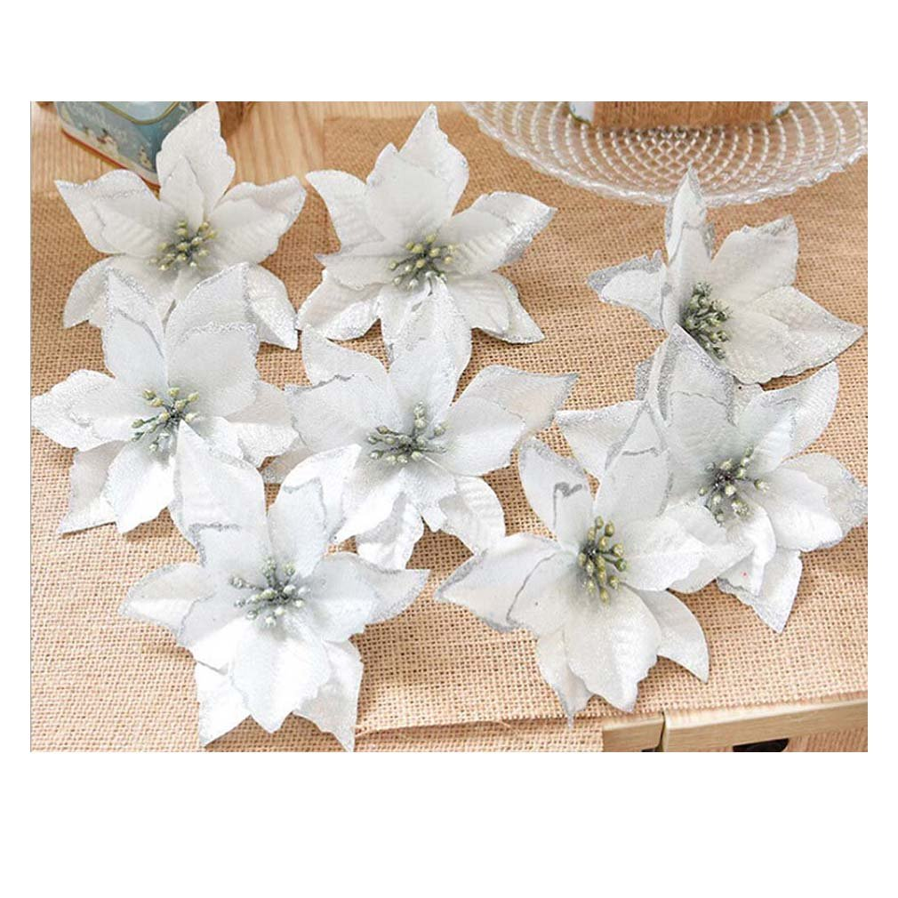 Lalang 8pcs Glitter Artificial Flowers Wedding Party Decoration Christmas Tree Wreaths Decor (silver) 88_Store