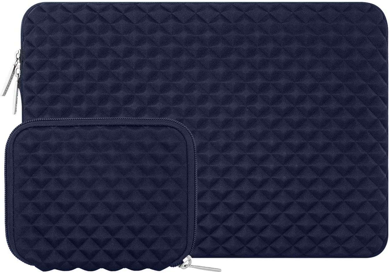 MOSISO Laptop Sleeve Compatible with 2019 MacBook Pro 16 inch with Touch Bar A2141, 15-15.6 inch MacBook Pro Retina 2012-2015, Notebook, Diamond Foam Neoprene Bag Cover with Small Case, Navy Blue