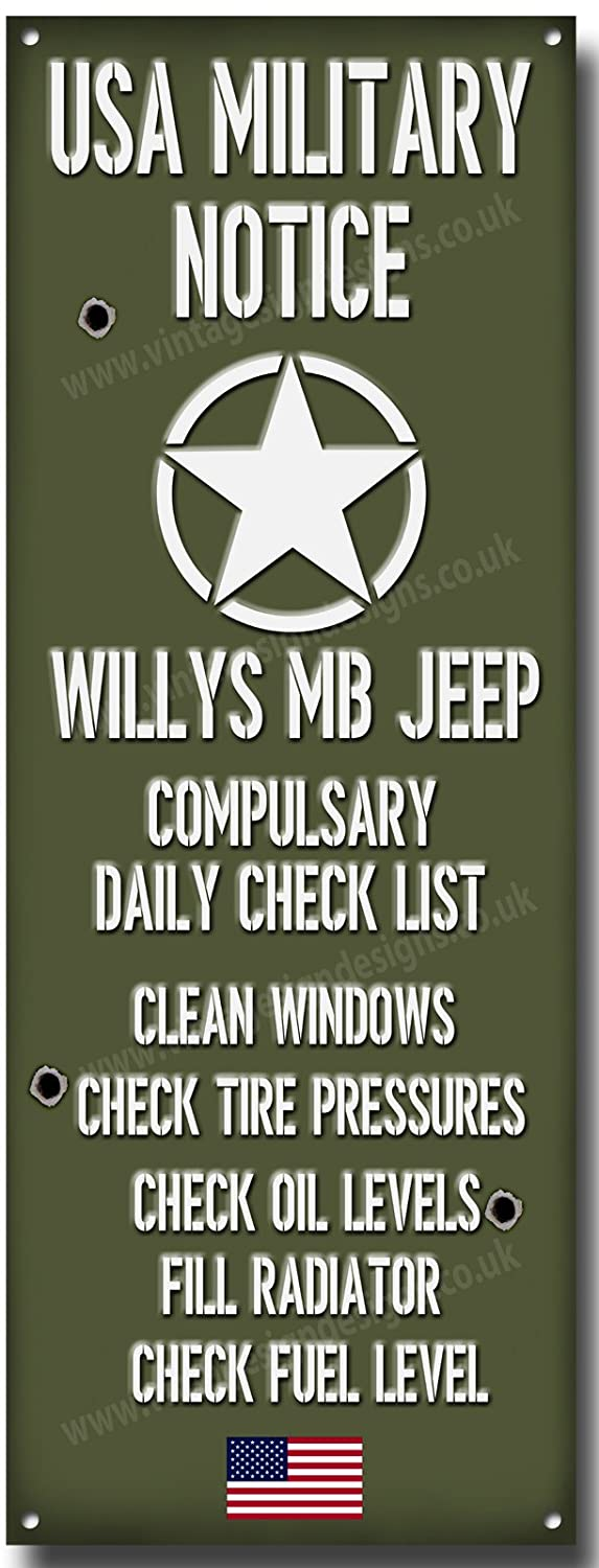 Willys MB Jeep Military Notice quality metal sign
