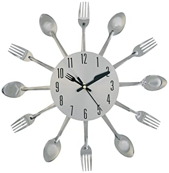 amazoncom kole kitchen cutlery wall clock home kitchen - Kitchen Clock