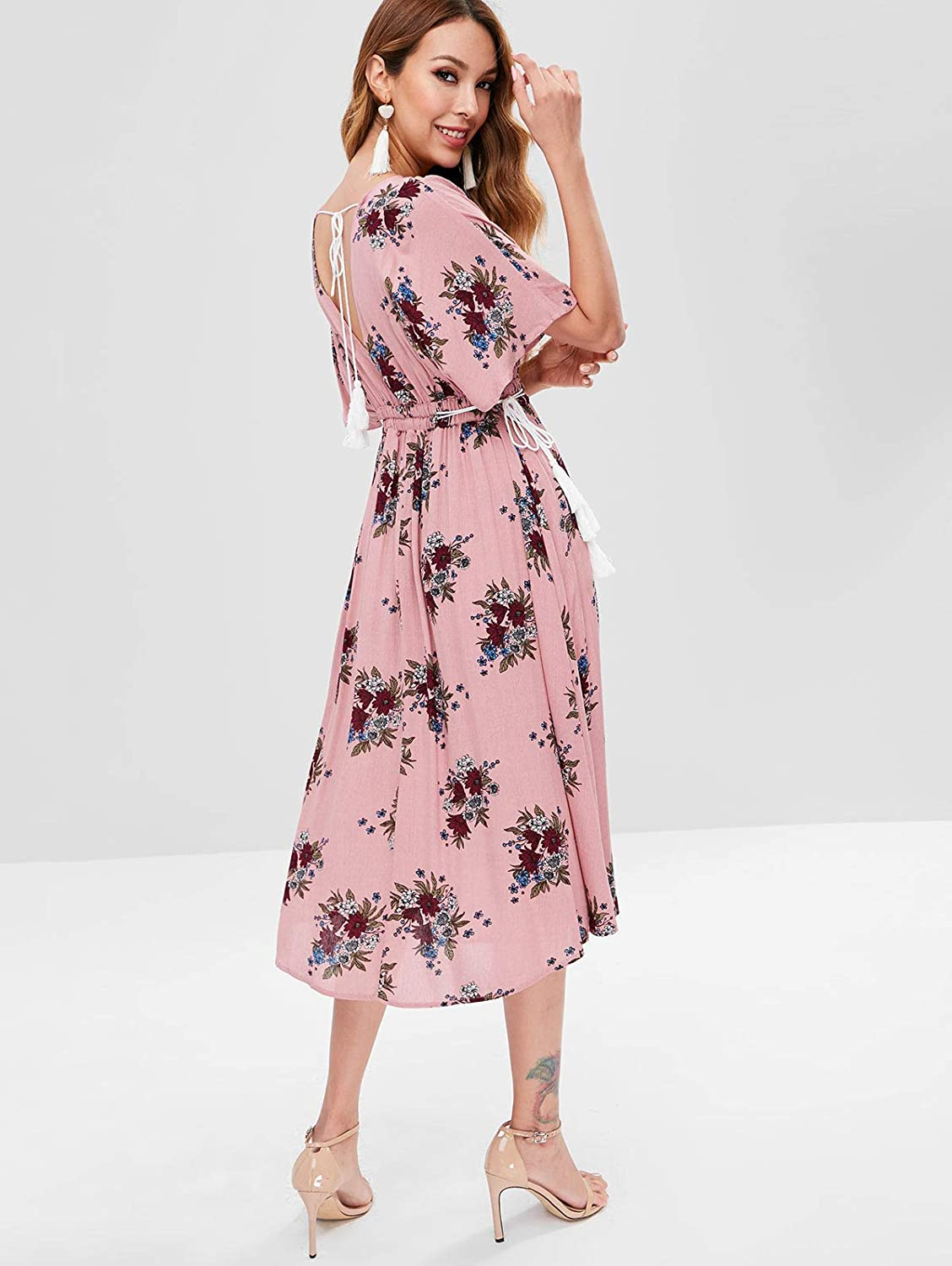 cdf577fd420 ZAFUL Women s Sexy Plunging V Neck Batwing Floral Cut Out Maxi Dress at  Amazon Women s Clothing store