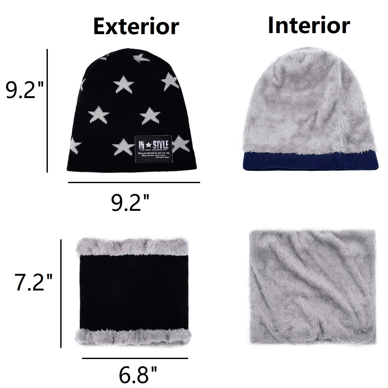 Zeltauto Kids Winter Warm Beanie Hat Scarf Fleece Lined 2 Pcs