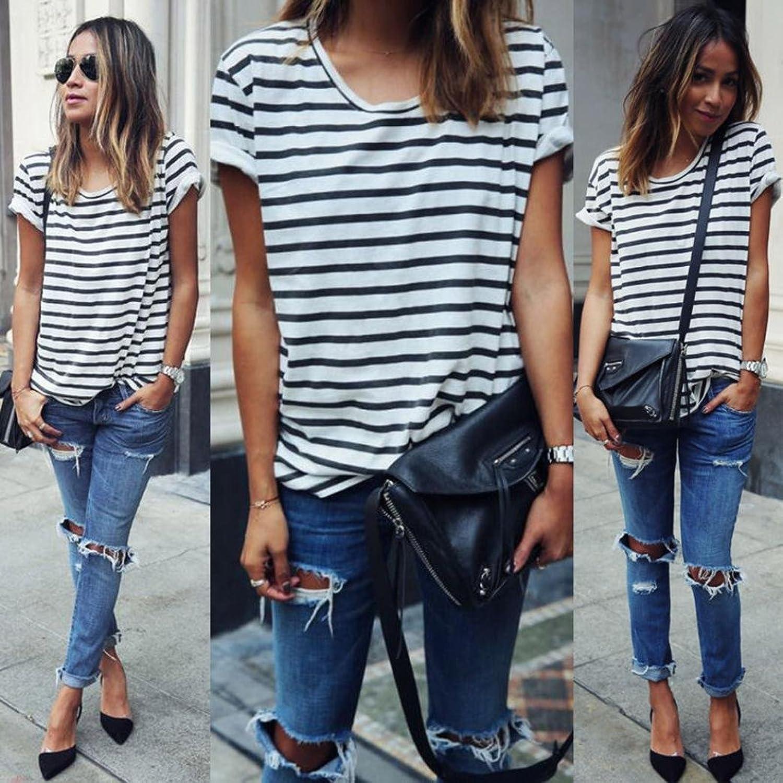 Blouse,START Women Casual Stripe Loose Summer Short Sleeve T-shirt
