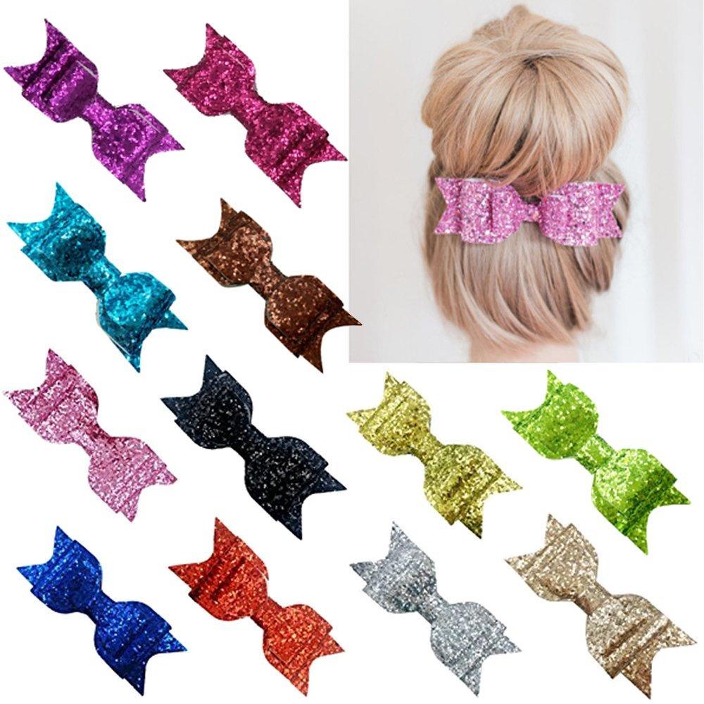 Coobbar 12pcs Bowknot Barrette Hairpin Hair Lovely Sequin Cute Girls Women Hair Clips Hair Bow (12pcs)