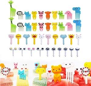 46PCS Animal Fruit Picks, BESTZY Cartoon Fruit Fork Plastic Fruit Toothpick Mini Cartoon Animal Food Toothpicks Bento Lunch Deco for Sandwich, Appetizer, Cocktail Picks Party Supplies