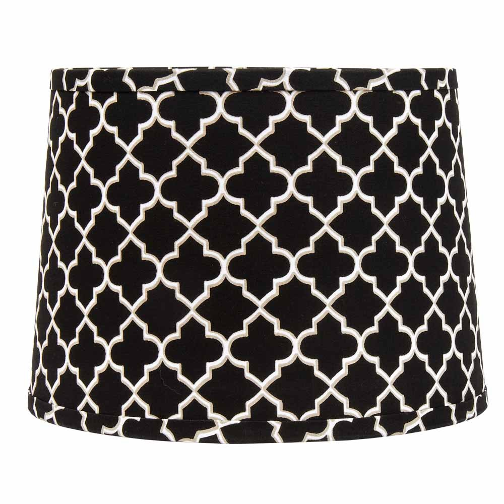 Home Collection by Raghu 4D370011 Black, White & Grey Quatrefoil Washer Drum Lampshade, 14''