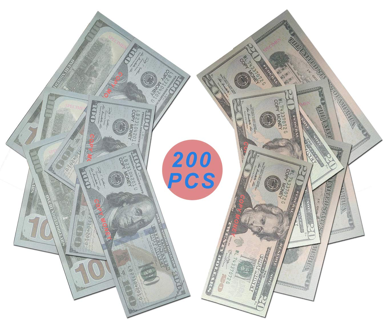 Prop Money Imitate Currency ,HD Quality Copy Money $100 $20 Total $12,000 Dollar Wedding/Party/Scenario Supplies,Fully Meet The Video/Movie Production by Tilly