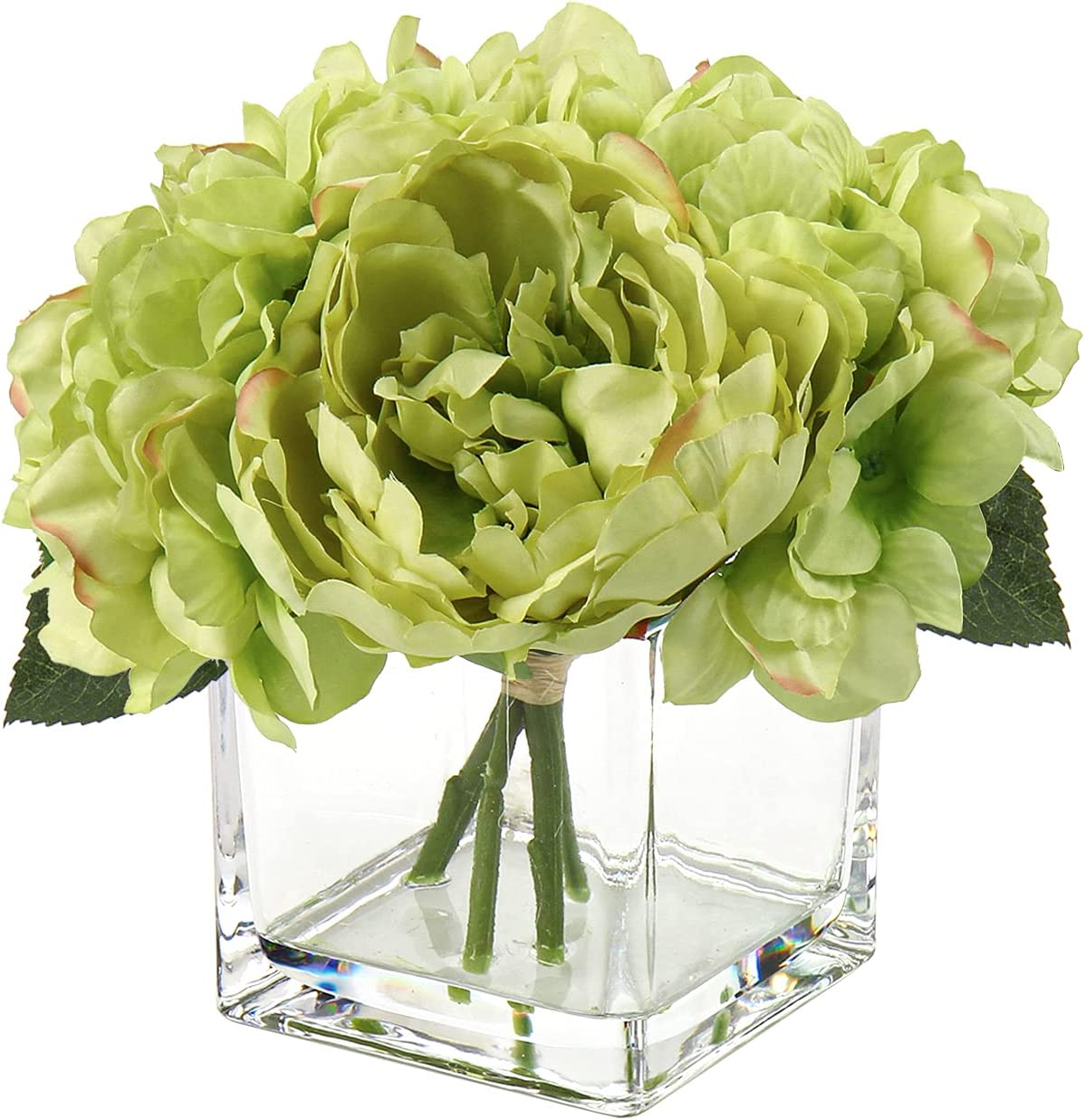 Faux Floral Arrangements in Glass Vase Faux Peony Hydrangea Silk Flower for Home Office Kitchen Table Decor Green Flowers Green Decor