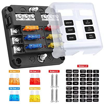 Electop 6 Way Blade Fuse Block Fuse Box Holder, 6 Circuit Car Ato/Atc Fuse Block with LED Indicator Damp-Proof Protection Cover Sticker for Automotive Car Truck Boat Marine RV Van: Automotive