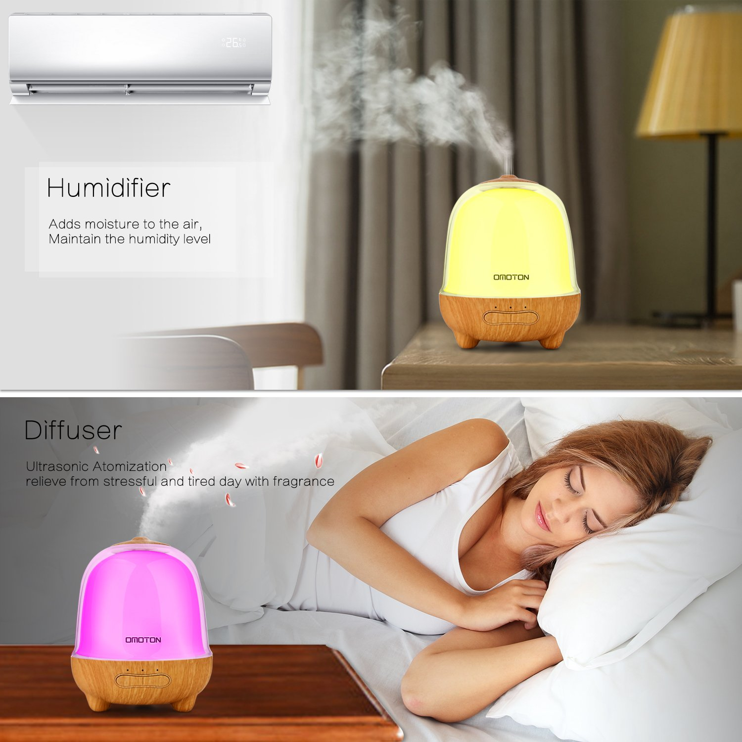 Essential Oil Diffuser, OMOTON 150ml Aromatherapy Diffuser Ultrasonic Aroma Humidifier with 7 Colored LED Lights and Waterless Auto Shut-off Protection