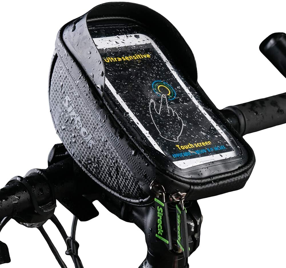 Sireck Bike Bag with 6.5 inch Touch Screen Phone Holder Waterproof Bicycle Front Frame Handlebar Bag Cycling Pouch Accessories