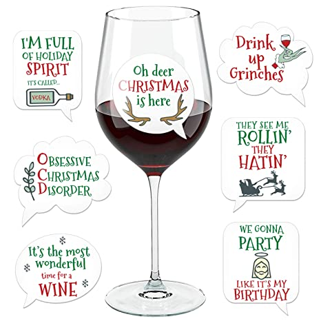 Christmas Wine.Funny Christmas Wine Glass Drink Markers Wine Charms Alternative 18 Static Cling Reusable Stickers Xmas
