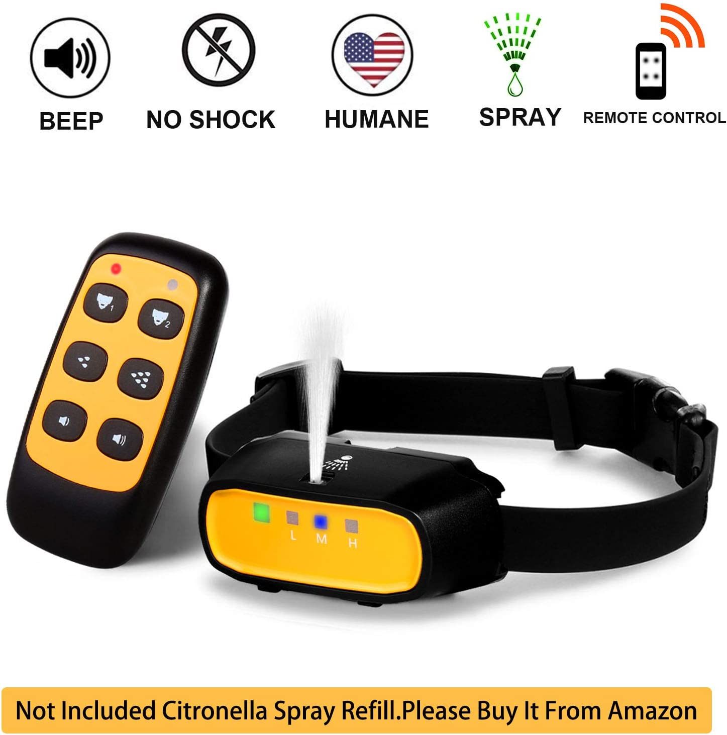 WWVVPET Spray Dog Training Collar,2 Modes Spray Dog Bark Collar Not Included Citronella Spray ,500 ft Range No Electric Shock Harmless,Rechargeable Waterproof