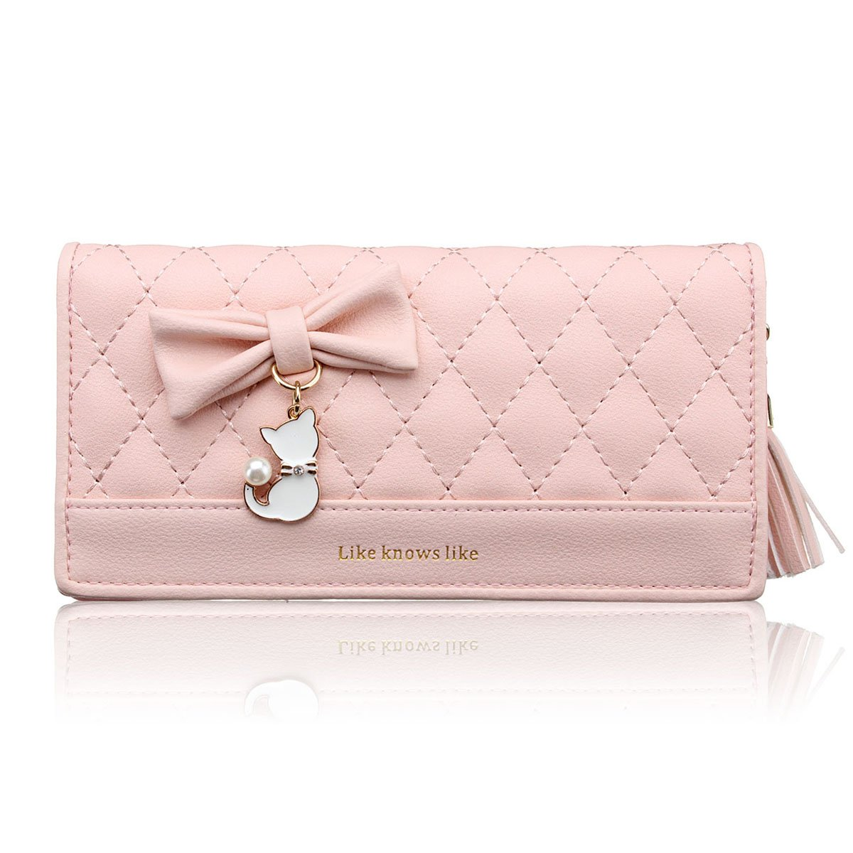 Nawoshow Women faux leather Coin Purse Cat Bowknot Wallets with Tassel Zipper(Pink)