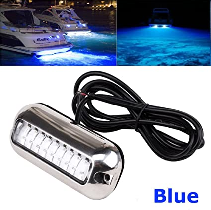 27LED Underwater Pontoon Marine Boat Transom Light Blue 50W 316Stainless Steel A