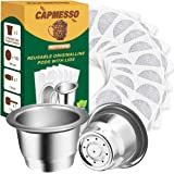 CAPMESSO Reusable Espresso Capsules Refillable Coffee Pod Stainless Steel Cups Compatible with Nespresso OriginalLine Brewer