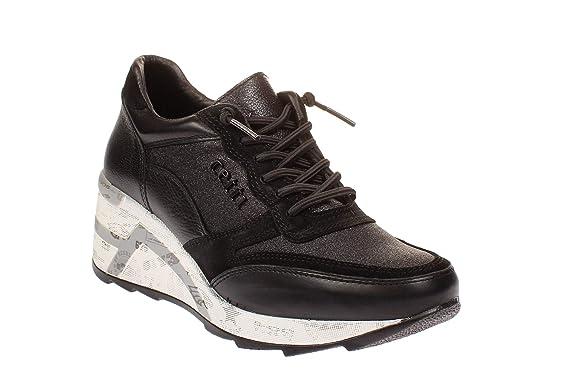 Cetti C1115 SRA - Damen Schuhe Plateau Sneaker - Space-Negro