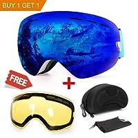 Skibrille, mit Beschlag- und UV-Schutz, für Wintersportarten, Snowboardbrille mit austauschbarer, sphärischer Dual-Linse, für Männer, Frauen und Jugendliche, für Schneemobil-, Skifahren oder Skaten