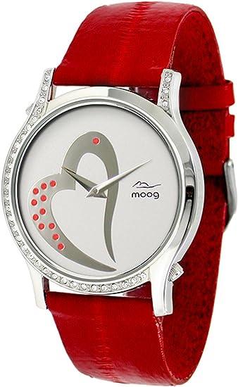 Moog Paris Sweet Love Orologio Da Donna Con Quadrante Argento Swarovski Elements E Cinturino Rosso In Pelle Di Anguilla M44392 011 Amazon It Orologi