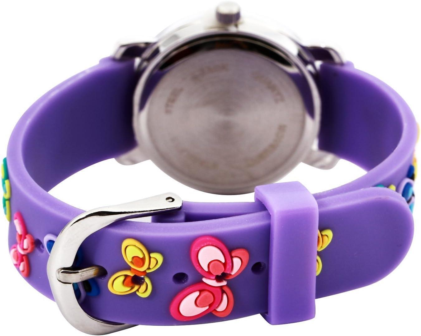 3D Cute Cartoon Quartz Montre Montres Bracelets avec Silicone Bande Professeur de Temps comme Cadeau pour Les Petites Filles garçon Enfants Enfants - Dinosaures jurassiques Rouges … Papillon Violet