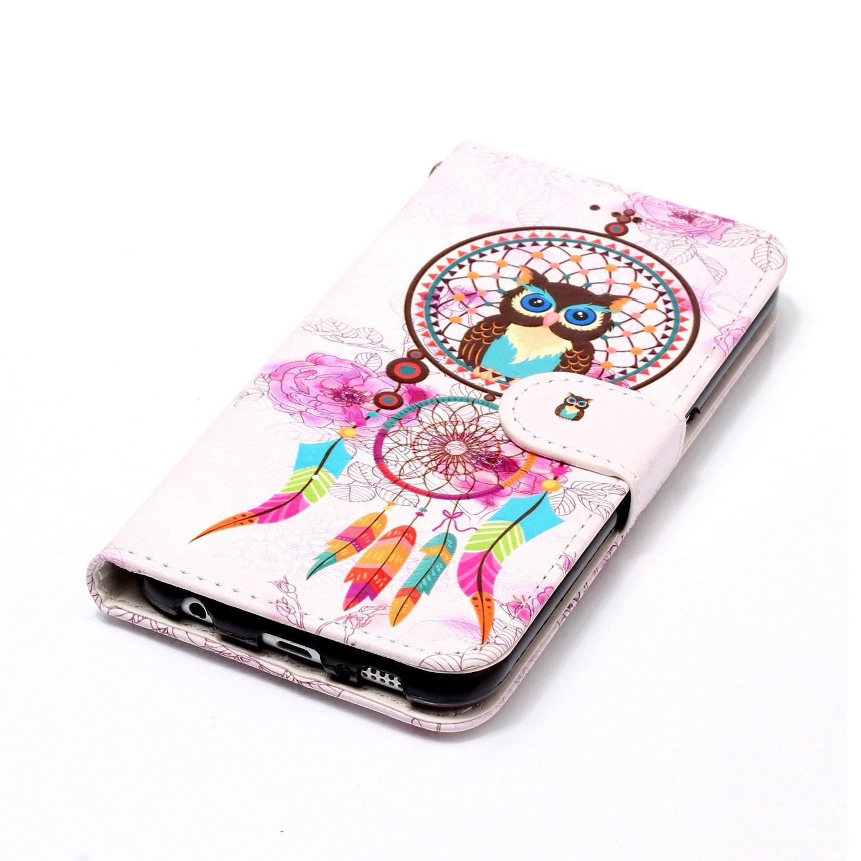 LA-Otter Coque Samsung Galaxy S5 Hibou Campanule Flip Case Housse Etui /à Rabat Folio Motif Design Antichoc Portefeuille Cuir Silicone Gel Bumper Pochette
