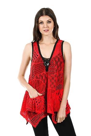Womens Boho Chic Sleeveless Crochet Tunic Vest L Xl 1x 2x 3x 2x