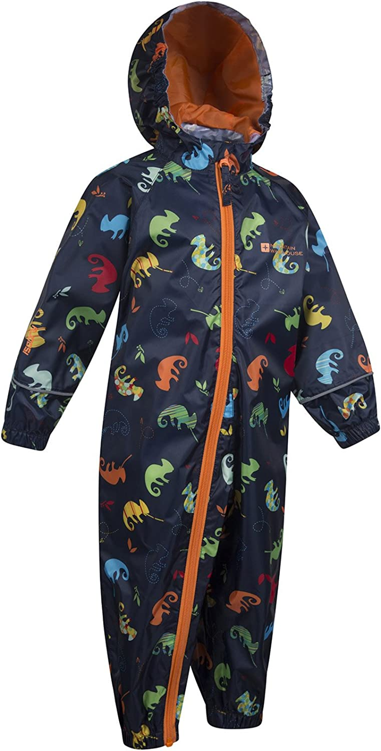 Breathable Waterproof Coat High Vis Suit Taped Seams Suit for Travelling Blue 6-12 Months Waterproof Childrens Rain Coat Mountain Warehouse Puddle Kids Printed Rain Suit