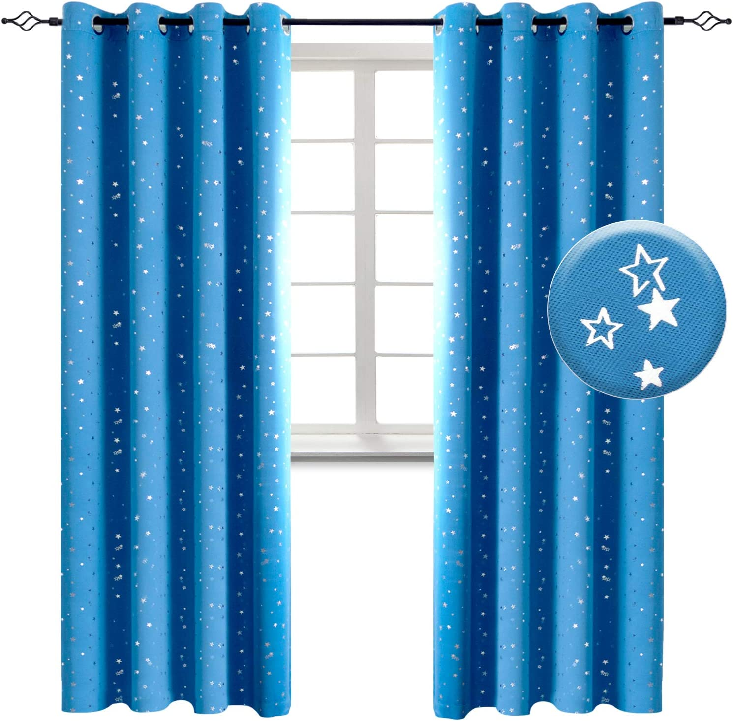 Eyelet Thermal Insulated Silver Star Print Room Darkening Curtains for Living Room BGment Kids Blackout Curtains for Bedroom 2 Panels W46 X L54 Inch, Mustard