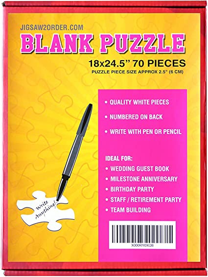 Guest Book Alternative Piece Size 3.5x3.5 inches 33x47 inches Wedding Birthday Party Event Guest Book Puzzle 140 Large Numbered White Pieces Blank Puzzle A0