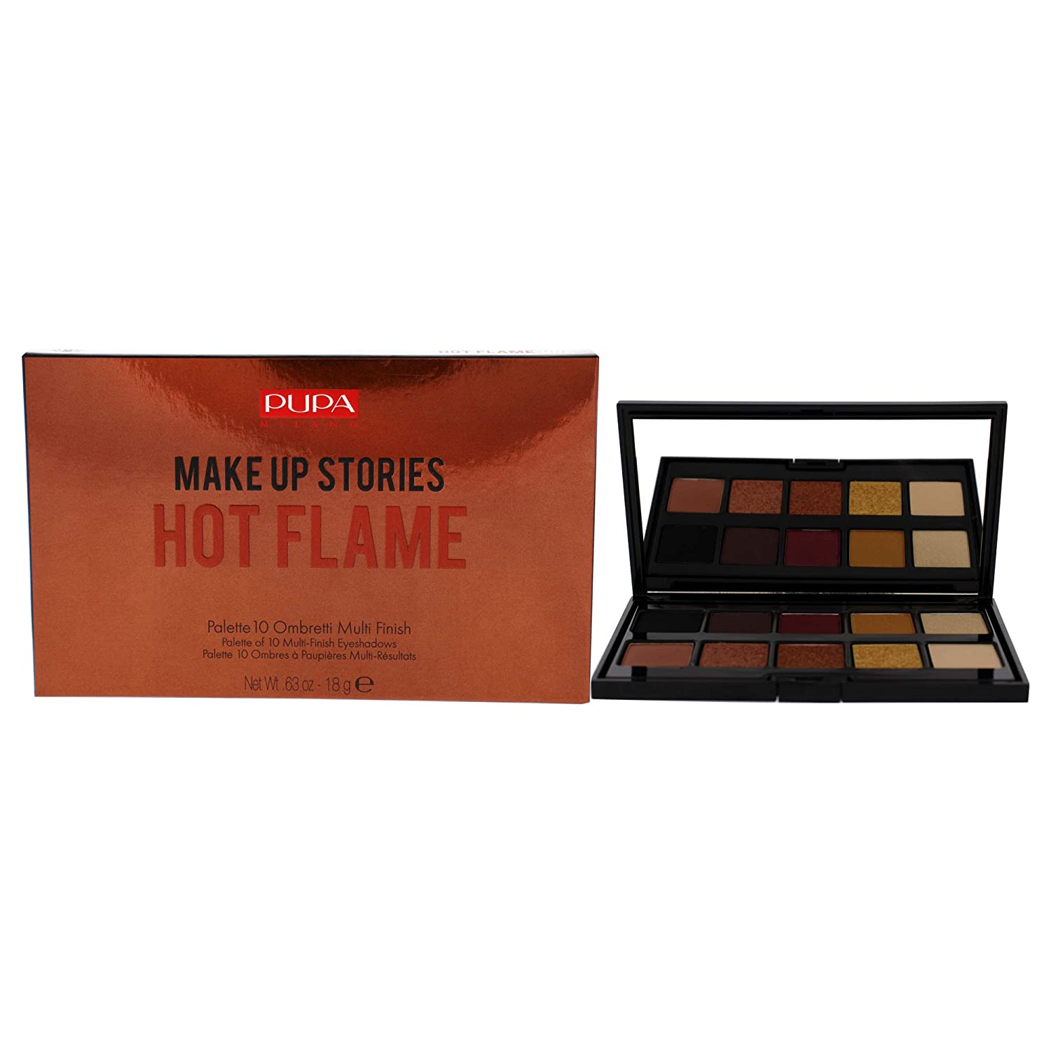 Pupa Milano Make Up Stories Eyeshadow Palette – Palette Of 10 Eyeshadows for an Incandescent Look – Extraordinary Coverage and Perfect Adherence – 002 Hot Flame – 0.63 Oz