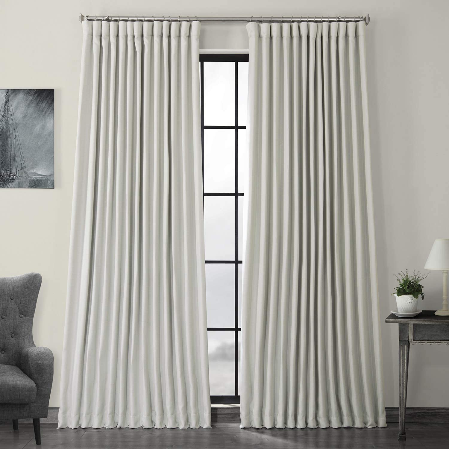 HPD Half Price Drapes BOCH-LN1855-108-DW Faux Linen Extra Wide Blackout Room Darkening Curtain (1 Panel), 100 X 108, Oyster